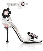 Prada Women's Flower-Appliquéd Leather Sandals