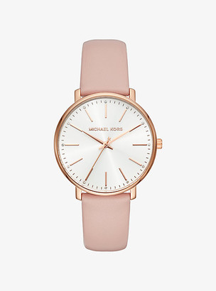 Michael Kors Pyper Rose Gold-Tone Leather Watch - Rose Gold