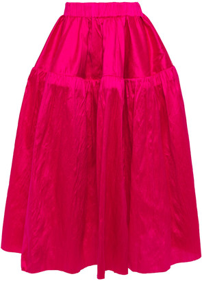 Marques Almeida Gathered Silk-dupioni Midi Skirt