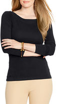 Lauren Ralph Lauren Plus Cotton Ballet Neck Shirt