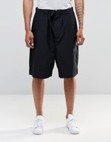 Asos Oversized Shorts With Self Fabric Belt In Black