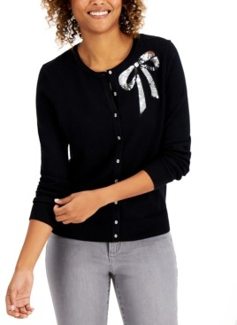Charter Club Sequined-Bow Button Cardigan, Created for Macy's