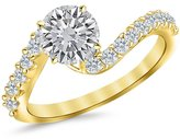 Houston Diamond District 1.25 Carat t.w. Platinum Round Twisting & Curving Diamond Engagement Ring VS1-VS2