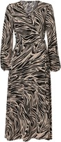 Wallis Neutral Marble Print Jersey Wrap Midi Dress