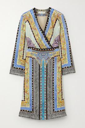 Etro Wrap-effect Printed Satin-jacquard Midi Dress - Blue