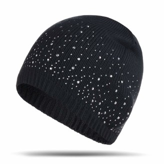 Ulalaza Sparkle Cable Knit Hat Pom Pom Beanie Skull Stocking Hat Cuff Beanie Cap for Ladies