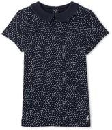 Petit Bateau Girls polka dot T-shirt with Peter Pan collar
