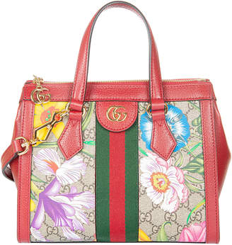 Gucci Top Zip Floral Printed Shoulder Bag