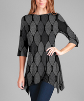 Lily Black & Gray Geometric Asymmetrical Scoop Neck Tunic - Plus Too