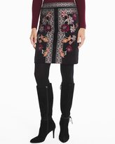 White House Black Market Embroidered Velvet Boot Skirt