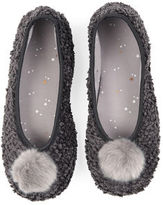 "Oasis FURRY POM-POM SLIPPER [span class=""variation_color_heading""]- Mid Grey[/span]"