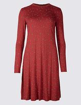 M&S Collection Printed Long Sleeve Swing Midi Dress