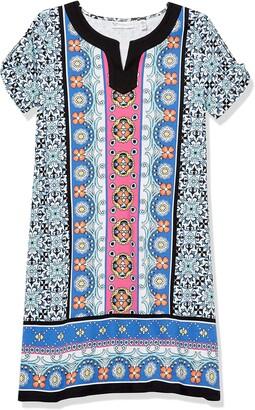Rafaella Women's Petite Terrazza Tiles Print Short Sleeve Dress