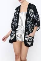 En Creme Navy Patterned Kimono