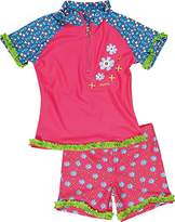 Playshoes Girl's UV Sun Protection 2 Piece Swim Set Flowers Swimsuit,(Manufacturer Size:86/92 (12-24 Months))