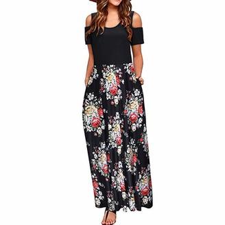 LOPILY 2019 Work Dress Women Summer Cold Shoulder Floral Print Elegant Maxi Long Dress Pocket Dress Blue M