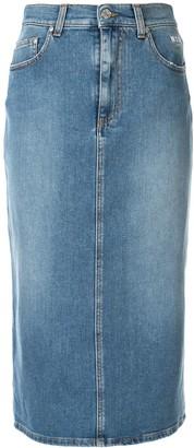 MSGM Midi Denim Skirt
