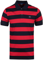 Paul & Shark Block Stripe Red & Navy Short Sleeve Polo Shirt