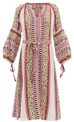 D'Ascoli Maddy Striped And Leopard-print Silk Dress - Womens - Red Print