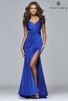 Faviana 7954 Long stretch faille satin with side cutouts