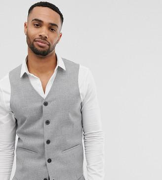 Asos Design DESIGN Tall wedding skinny suit suit vest in gray twist micro texture