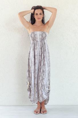 Beth & Tracie - Almond Rayon Snake Print Maxi Dress - M - Natural/Grey/Gold
