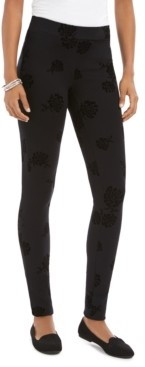 Style&Co. Style & Co. Floral Flocked Ponte-Knit Leggings, Created for Macy's