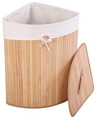 Goplus Corner Bamboo Washing Cloth Hamper Laundry Basket Bin Storage Bag Lid Natural