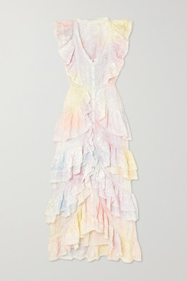 LoveShackFancy India Ruffled Lace-trimmed Tie-dyed Silk Dress - White
