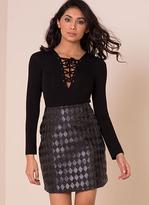 Missy Empire Rita Black PU Leather Textured Diamond Mini Skirt