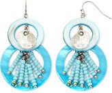 JCPenney Aris by Treska Aqua Shell Double-Circle Earrings