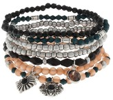 Target Distributed Women's Stretch Bracelet Set with Faceted Acrylic Beads, Seed Beads, Faux Cat Eye, Textured Charms- Peach