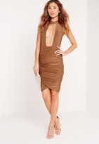 Missguided High Neck Cut Out Ruched Midi Dress Toffee