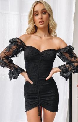 Beginning Boutique Seductress Lace Sleeve Shirred Dress Black