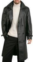 DashX Men's Classic Leather Trench/Long Coat