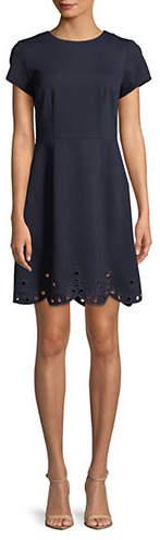 Eliza J Embroidered Eyelet Fit--Flare Dress