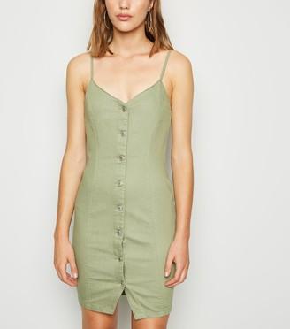 New Look Button Up Denim Bodycon Dress
