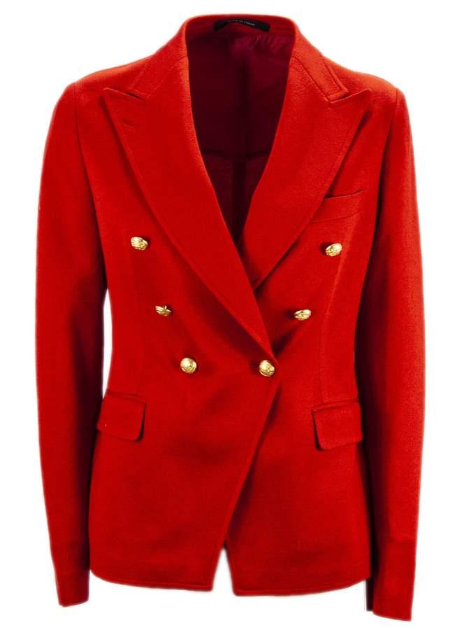 Tagliatore Red Cotton Jalicya Classic Double-breasted Blazer