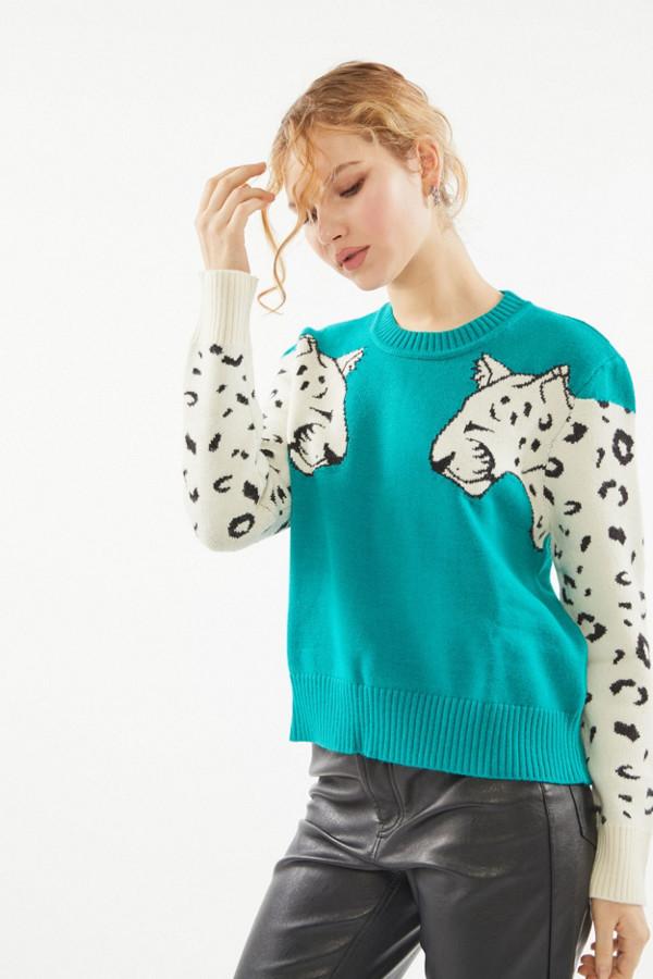 MinkPink Snow Leopard Intarsia Knit Sweater