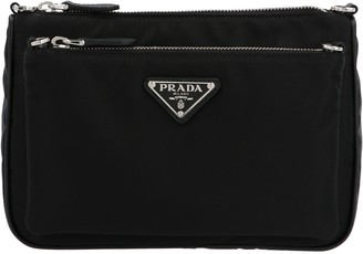Prada Triangle Logo Plaque Crossbody Bag