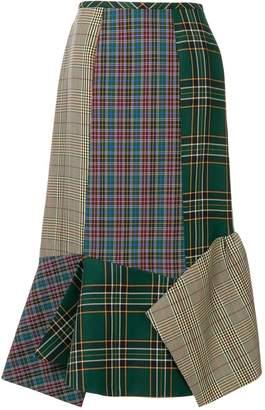 Enfold mixed check skirt