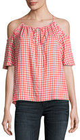 Velvet Nedra Gingham Cold-Shoulder Top, Red/White