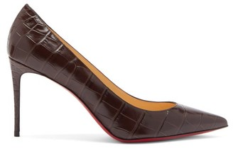 Christian Louboutin Kate 85 Crocodile-effect Leather Pumps - Dark Brown