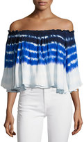 Young Fabulous and Broke Artist Off-The-Shoulder Top, Blue/Multi