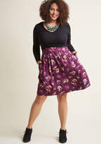 Emily And Fin Retro Reverie A-Line Skirt in Sassy Ski in M - Full Skirt Mid by from ModCloth