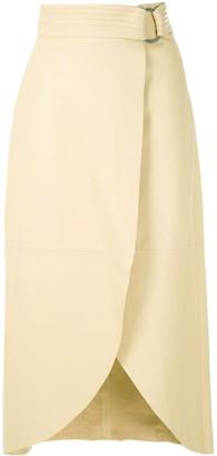 Framed Deli leather midi skirt