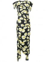 Marni floral print draped dress