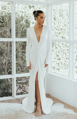 Empire Plunging Long Sleeve Trumpet Wedding Dress