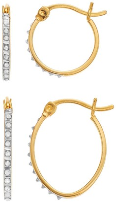 Mystique Diamond 18k Gold Over Silver Diamond Accent Round & Oval Hoop Earring Set
