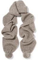 Stella McCartney Pompom-embellished ribbed-knit scarf